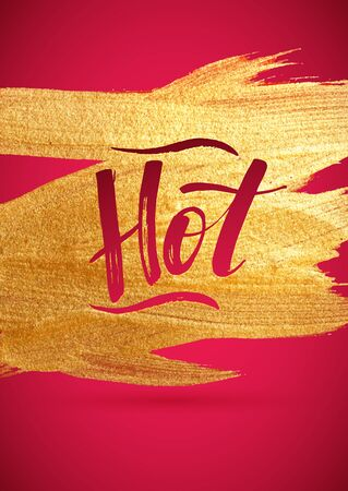 foil: Hot. Gold Foil Red Calligraphy Red  Poster