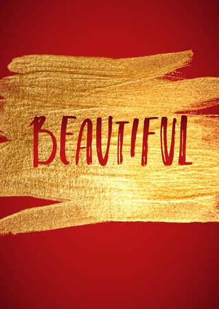foil: Beautiful. Gold Foil Red Calligraphy Red Poster