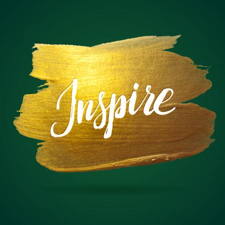 Inspirieren. Grün und Goldfolie Kalligraphie Glänzend Poster