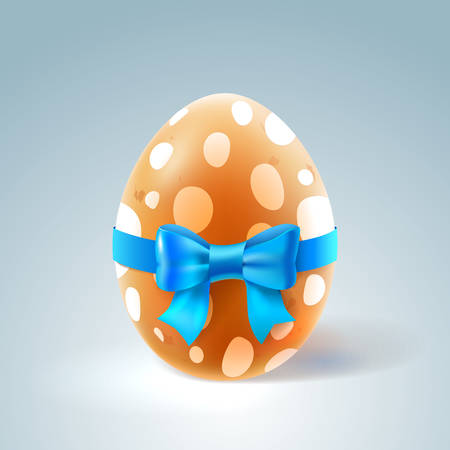 brown egg: Happy Easter Illustration. Brown Egg with Blue Bow.