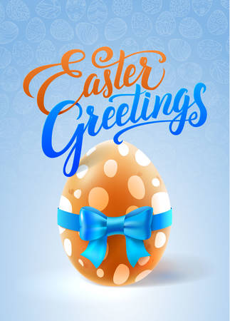 brown egg: Easter Greetings Card. Brown Egg with Blue Bow.