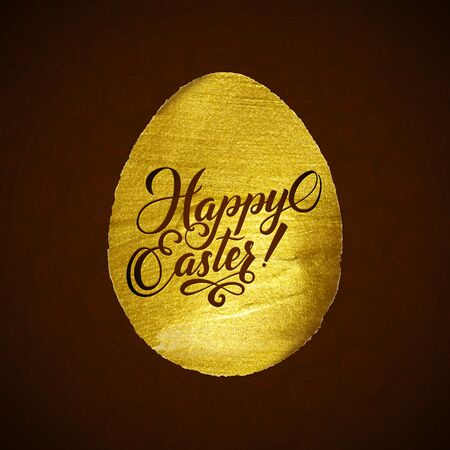 godness: Gold Foil Calligraphy Happy Easter Greeting Card. Modern Brush Lettering. Gold Stroke Egg and Black Letters. Joyful wishes, holiday greetings.