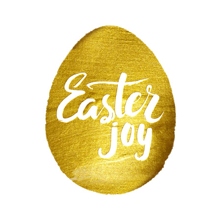 godness: Gold Foil Calligraphy Happy Easter Greeting Card. Modern Brush Lettering. Gold Stroke Egg and White Letters. Joyful wishes, holiday greetings.