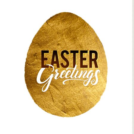 godness: Gold Foil Calligraphy Happy Easter Greeting Card. Modern Brush Lettering. Gold Stroke Egg and Black and White Letters. Joyful wishes, holiday greetings.