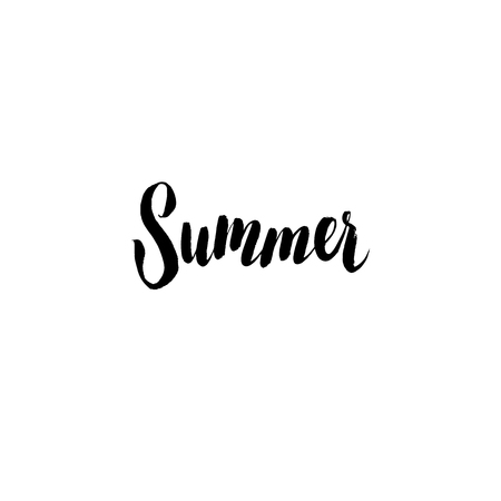 sumer: Summer.  Inspirational quote handwritten with black ink and brush, custom lettering for posters, t-shirts and cards. Vector calligraphy isolated on white background