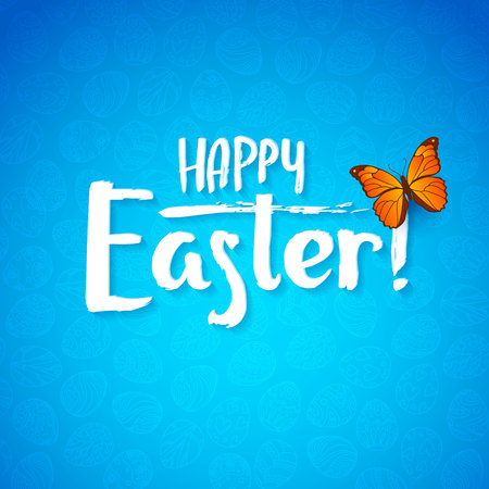 buterfly: Greeting card for the day of Happy Easter. White Calligraphy letters on a blue background with butterfly.