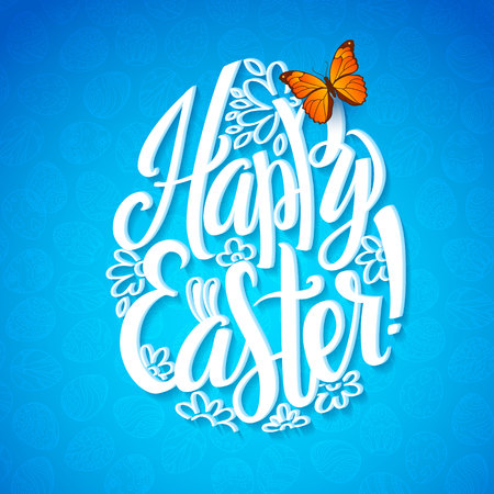 buterfly: Greeting card for the day of Happy Easter. White Calligraphy letters on a blue background with butterfly. Egg shape.