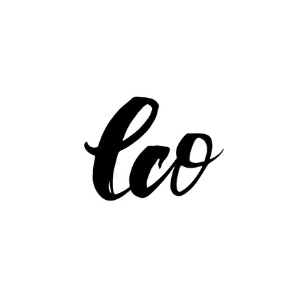 eco slogan: Eco. Inspirational quote handwritten with black ink and brush, custom lettering for posters, t-shirts and cards. Vector calligraphy isolated on white background.