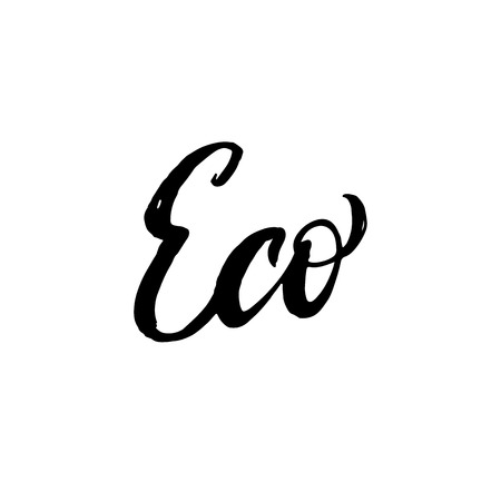 t shirt design: Eco. Inspirational quote handwritten with black ink and brush, custom lettering for posters, t-shirts and cards. Vector calligraphy isolated on white background.