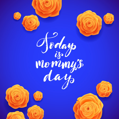 beautiful rose: Happy Mothers Day Spanish Greeting Card. Beautiful Blooming Yellow Rose Flowers on Blue Background.
