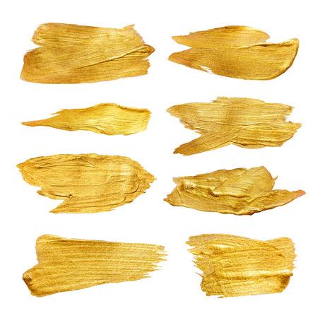 cepillo: La hoja de oro de la acuarela textura de la pintura de manchas abstractas conjunto de ilustraciones. Amarillo brillante pincelada para su proyecto de diseño increíble. Foto de archivo