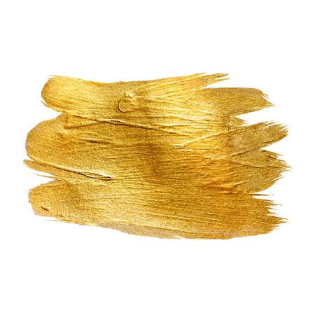 Trazo del metal del oro de la hoja del brillo del cepillo. Trazo de oro ilustración vectorial de diseño. Frustrar plantilla brillante. Diseño de la perla del lustre. Acuarela Textura metálica de pintura