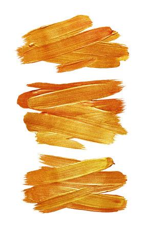 Gold Foil Stroke. Golden Metallic Glitter Design. Gold Abstract Paint Stain. Gold Red Illustratiob Set. Shiny Gold Gloss Design. Foto de archivo
