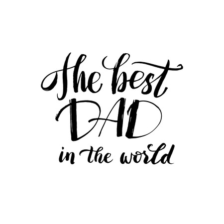 Hapy Fathers Day Black Greting card. Ink Inscription. Greeting card template for Father Day. Vector illustration