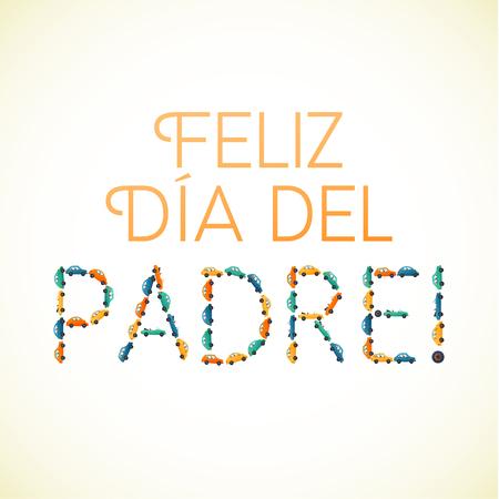 motobike: Happy fathers day spanish card Cars and Motobike on White Background.