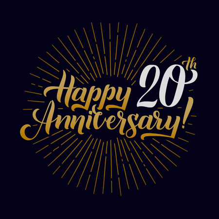Happy Anniversary Calligraphic Background. Elegant Holiday Gold Lettering Happy Anniversary Poster