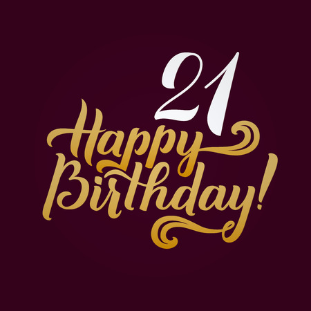 memory card: Happy Birthday Calligraphic Background. Elegant Holiday Gold  Lettering Happy Anniversary.