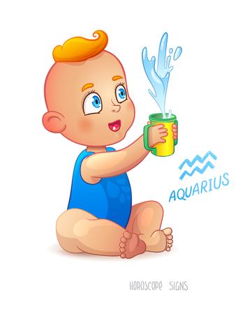 babyboy: Zodiac sign Aquarius. Happy babyboy enjoys splashes in feeding cup. Water Game. Horoscope sign Aquarius.