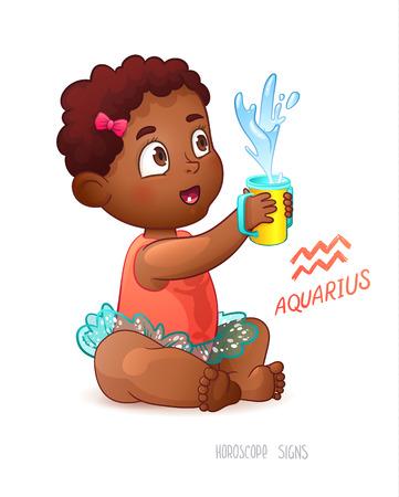 babygirl: Zodiac sign Aquarius. African American Cute Girl Enjoys Splashes in Feeding Cup. Water Game.