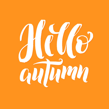Hello Autumn! White Letters Orange Background Vector Lettering. Illustration