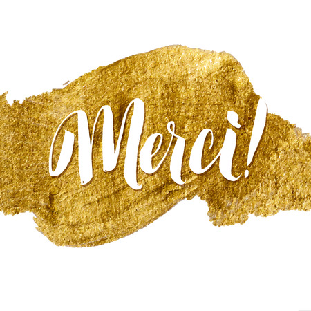 Thank You French Language Gold Foil Vector Lettering Illustration