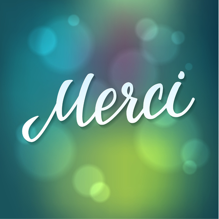 Thank You French Language Vector Lettering on Green Blue Bokeh Background