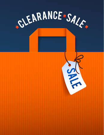 finale: Clearance Sale Poster with percent discount. Illustration of paper shopping bags and lights. Illustration