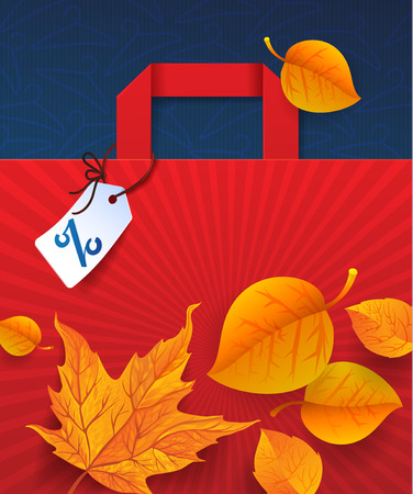 Clearance Sale Poster with percent discount. Autumn Illustration of paper shopping bags and lights.