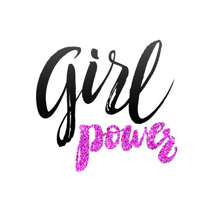 Girl Power Hand belettering ontwerpsjabloon. Typografie Vector achtergrond. Handgemaakte kalligrafie. Gemakkelijk plakken op elke achtergrond.