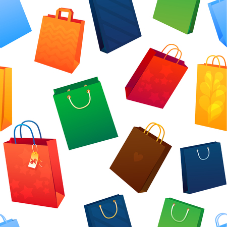 saemless: Sealess pattern. Sale Illustration of paper shopping bags.