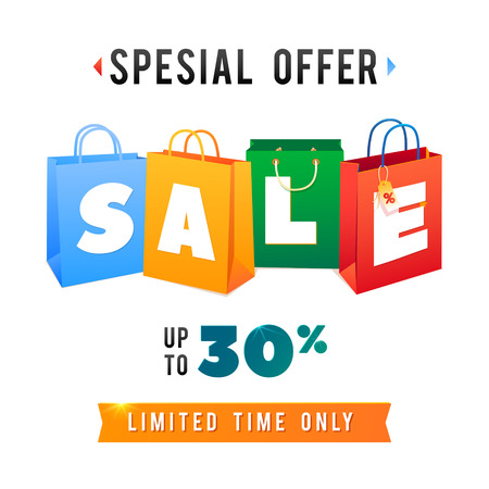 Sale Poster with percent discount. Illustration of paper shopping bags and lights. Spesial Offer.