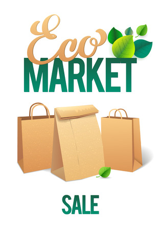 paper bags: Eco Market Promo. Paper bags and leaves on green background. save the planet.