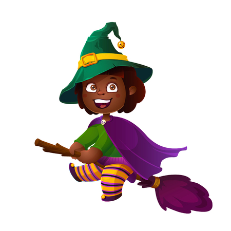 Cute African American Girl Witch on the Broom. Happy Halloween. Trick or Treat, Cartoon Illustration. Witch flying on a broomstick isolated on white background Illustration