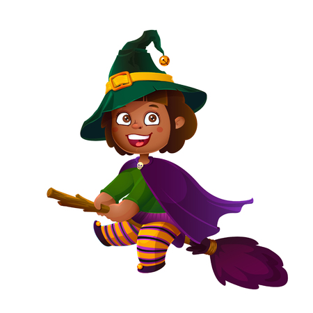 latina: Cute Latina Girl Witch on the Broom. Happy Halloween. Trick or Treat, Cartoon Illustration. Witch flying on a broomstick isolated on white background