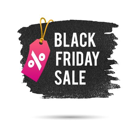 pricetag: Black Friday Sale. Promo Abstract Vector Illustration for your business artwork. Pink Pricetag and Gold Rope. Illustration