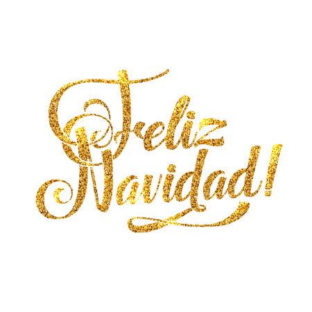 Gold Spanish Merry Christmas Card. Golden Shiny Glitter. Calligraphy Greeting Poster Tamplate. Isolated White Background