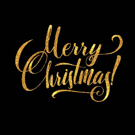 gold christmas background: Gold Merry Christmas Card. Golden Shiny Glitter. Calligraphy Greeting Poster Tamplate. Isolated Black Background Glowing Illustration