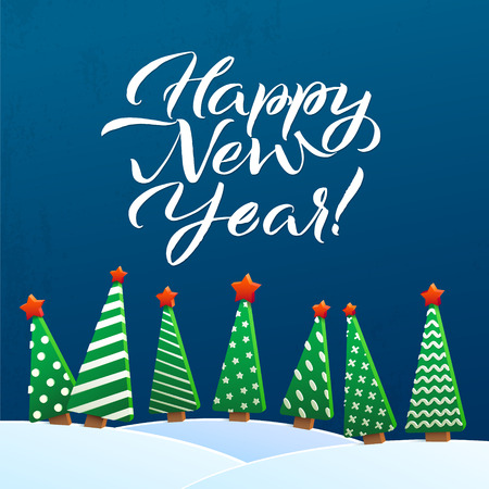 snowdrifts: Happy New Year Greeting Card. Brush Lettering, vector illustration. Stars, Christmas trees and Snowdrifts. Christmas decoration, greeting design.