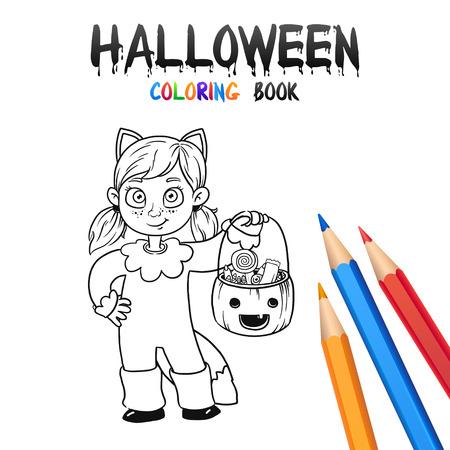 Alegre Bebé Calabaza. Halloween Para Colorear Libro. Ilustración ...