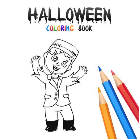 Fantasma Alegre Bebé. De Halloween Para Dar Color. Ilustración Para ...