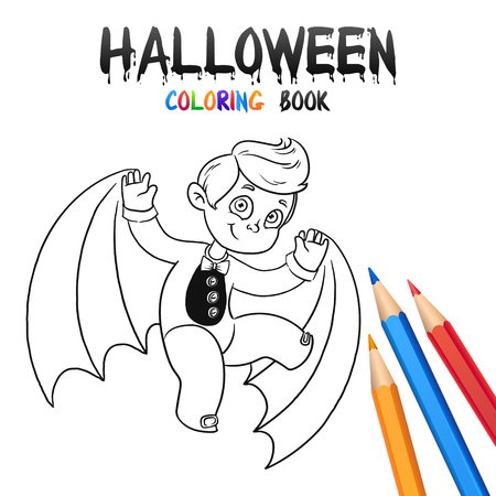 Kid Fliegen Bat. Halloween Malbuch. Illustration Für Kinder Vektor ...