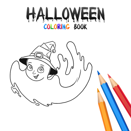 Cheerful baby ghost. Halloween Coloring Book. Illustration for children vector cartoon character isolated on white background.