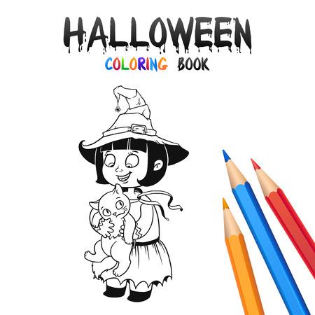 Fröhlicher Junge Im Halloween-Kostümvampir. Halloween-Malbuch ...