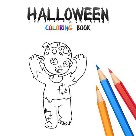 Pequeña Bruja En Sombrero. Halloween Para Colorear Libro ...