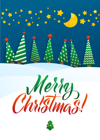 snowdrifts: Christmas Greeting Card. Merry Christmas lettering, vector illustration. Volume toys, Christmas trees and snowdrifts. Christmas decorations, greeting illustration.