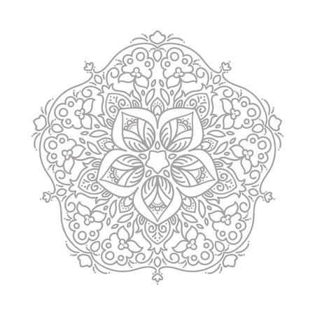 Decorative line art frame for design template. Elegant vector element for design, place for text. Grey outline floral border. Lace illustration for invitations and greeting cards.
