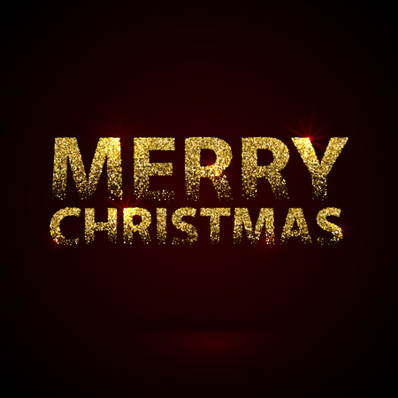 Christmas Card Gold Sparkles on Black Background. Falling Glitter and Calligraphy Greeting X-MAS Poster. Illustration