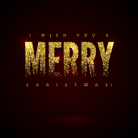 Christmas Card Gold Sparkles on Black Background. Glitter and Calligraphy Greeting X-MAS Poster.