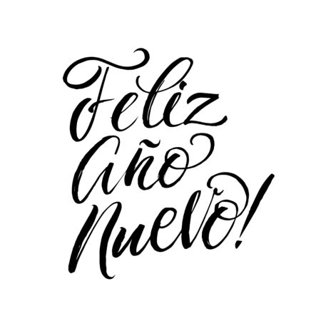 white party: Happy New Year Stroke Spanish Calligraphy. Greeting Card Black Typography on White Background.