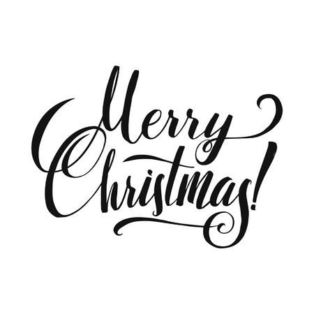 merry christmas calligraphy greeting card black typography on white background stock vector 67206520